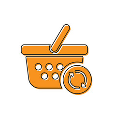 Orange refresh shopping basket icon isolated on vector