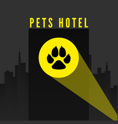 pets hotel trail dogs paw in spotlight on city vector image