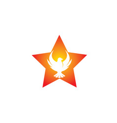 Phoenix flying bird inside the star and eagle vector