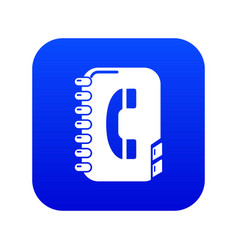 Phone book icon blue vector