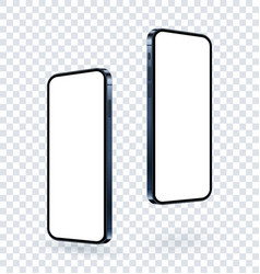 Phone mockup with blank screen rotated and vector