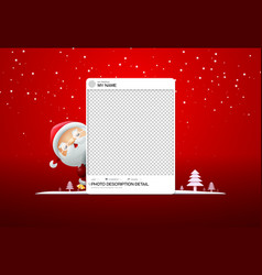 Photo frame social merry christmas with santa vector