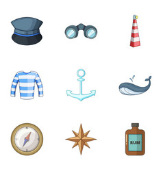 Pirate life icons set cartoon style vector