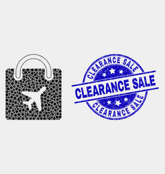 pixel airport shopping bag icon and grunge vector image