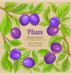 Plum branches frame on color background vector