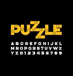 Puzzle font design jigsaw puzzle alphabet and vector