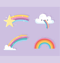 rainbow with clouds cartoon shooting star vector image