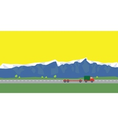 Red car on the way on background of mountains vector
