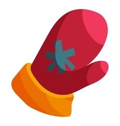 Red Santa mitten icon cartoon style vector