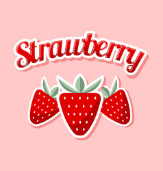 Retro strawberry with title on pink background vector