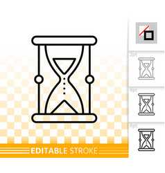 sand glass simple black line icon vector image