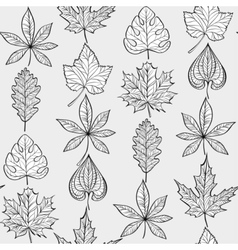 Seamless Pattern with Fall Different Leaves vector image