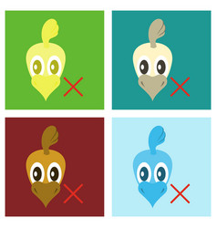 Set of chicken bird engraving drawn flat vector