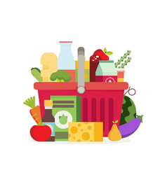 Shopping basket with fresh food and drinkbuy vector