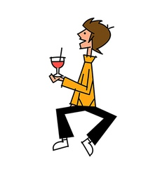 Side view of boy holding glass vector