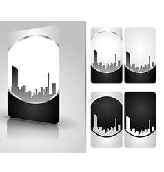 Silver business card set vector image vector image