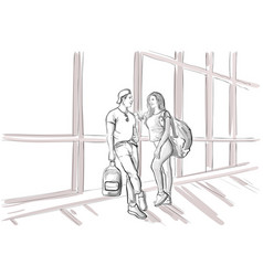 sketch couple in airport lounge waiting departure vector image