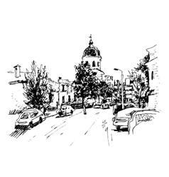 Sketch kiev historical building ukraine vector