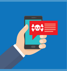 Smartphone in danger red alert vector