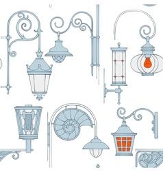 Street lantern seamless pattern vector