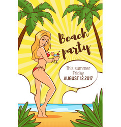 Template for beach party flyer vector