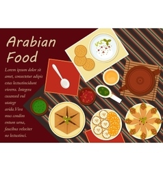 Traditional arabian cuisine menu elements vector
