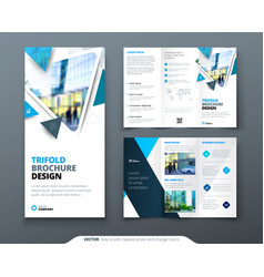 Tri fold brochure design blue template for tri vector