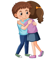 Two children hugging each other vector