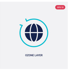 Two color ozone layer icon from ecology concept vector