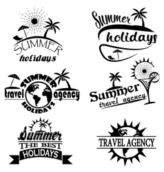 Vintage summer typography design with labels icon vector