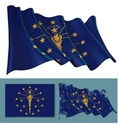 Waving flag of the state of indiana vector