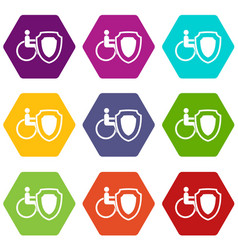 wheelchair and safety shield icon set color vector image