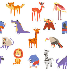 Wild african animals and birds seamless pattern vector