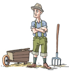 Farmer with the Wheelbarrow vector image