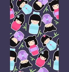 kokeshi dolls seamless pattern vector image