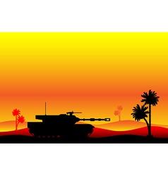 Modern heavy tank in desert vector image