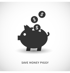 Piggy bank and coins icons vector image vector image
