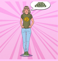 pop art woman wearing in t-shirt with bitcoin vector image vector image