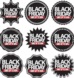 Black friday save up to 80 black signs set vector