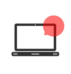 black laptop with speech bubble vector image