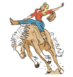 Cowgirl on a bronco vector image vector image