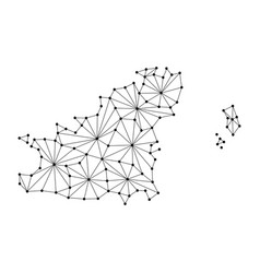 Guernsey map of polygonal mosaic lines network vector