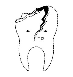 Kawaii tooth with root and broken in black dotted vector