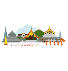 luang prabang laos landmarks and monks on alms vector image vector image