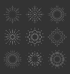 radiant sunburst lineart design icons set template vector image
