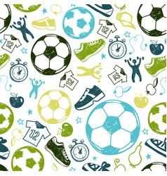 sport sketch soccer seamless pattern vector image