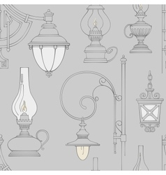 vintage lamp seamless pattern vector image vector image