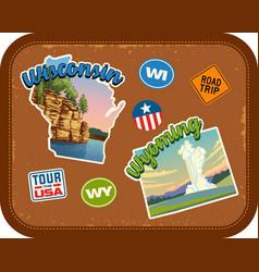 Wisconsin wyoming travel stickers vector