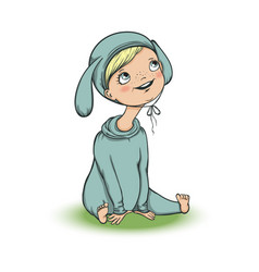 cute baby in bunny costume character vector image