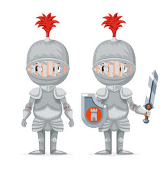 cute medieval knight mascot happy crusader cartoon vector image